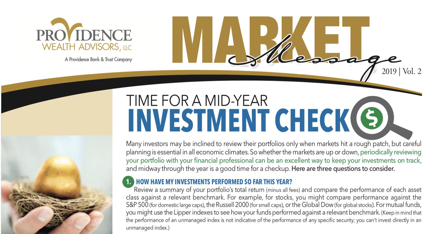 market message newsletter screen capture 2nd quarter issue