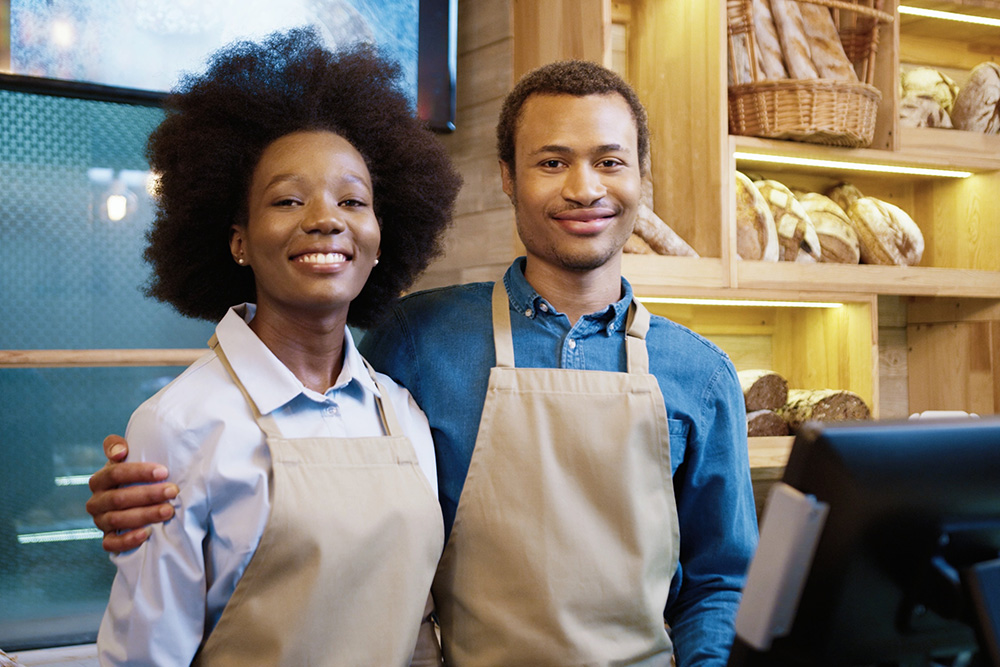 business owners in a bakery