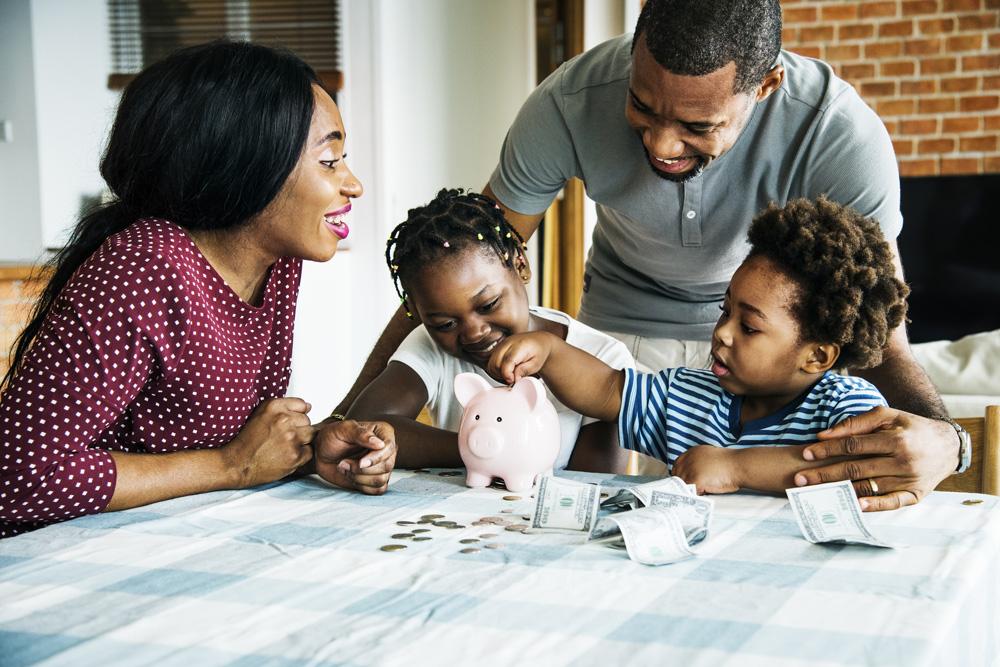 family examining money