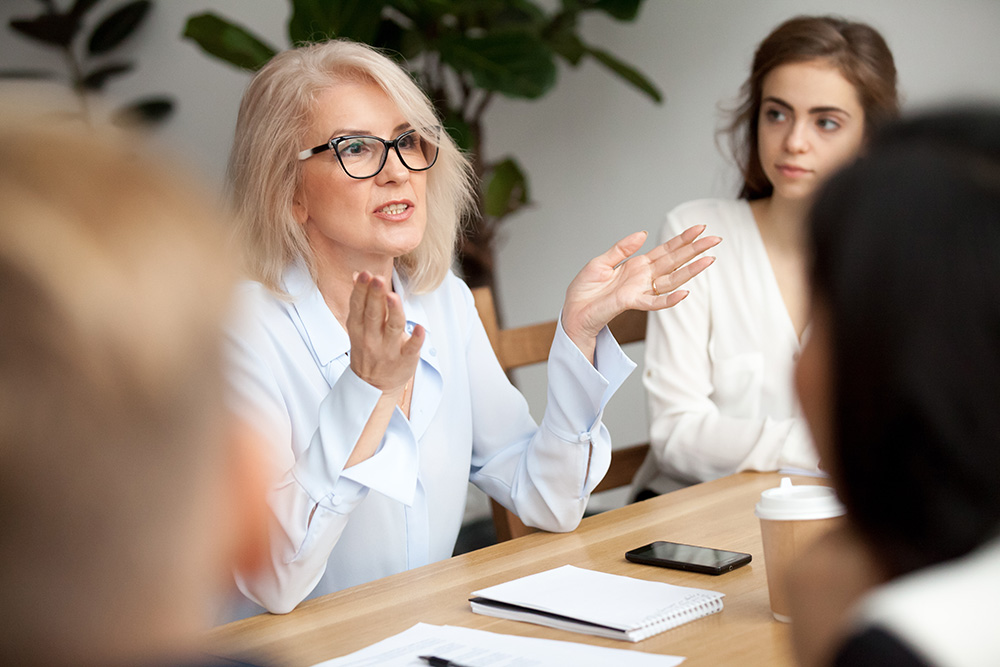 woman at retirement planning meeting